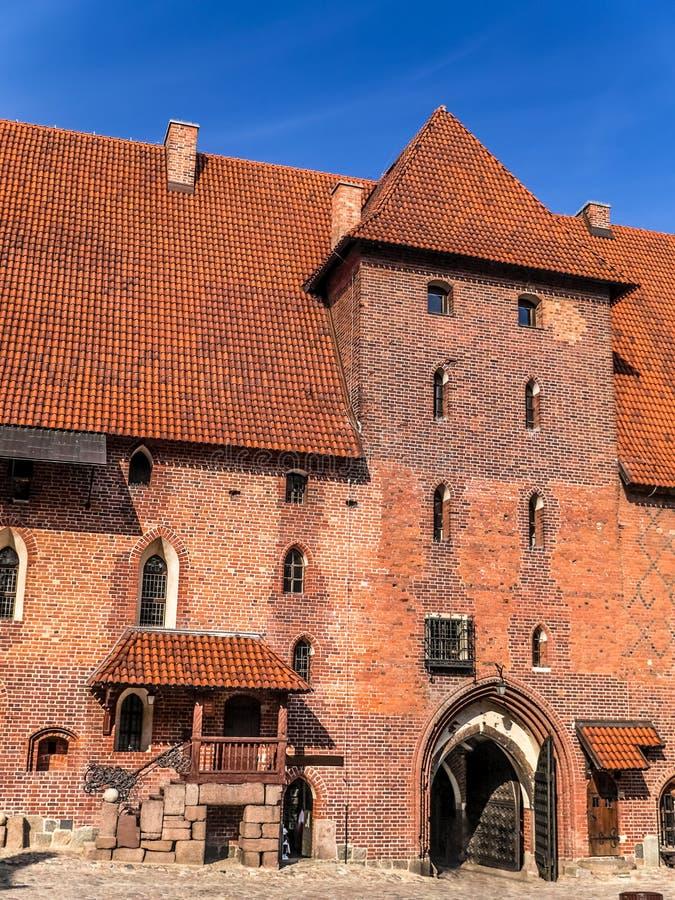 Middenvestingmuur van Malbork-kasteel stock foto's