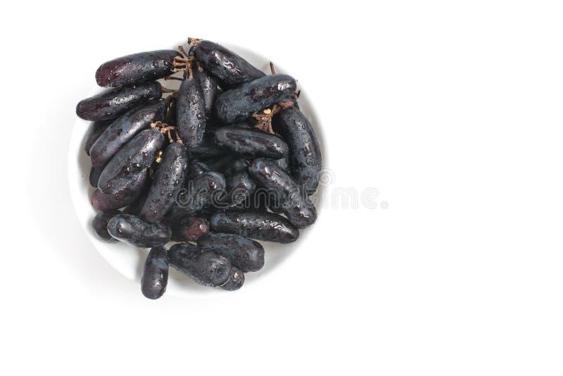 Middernacht Lange Zwarte Druiven stock afbeelding
