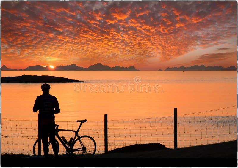 Middernachtzon Noorwegen stock foto