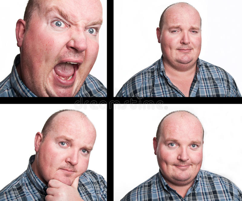 Middle age business man facial expressions stock photos