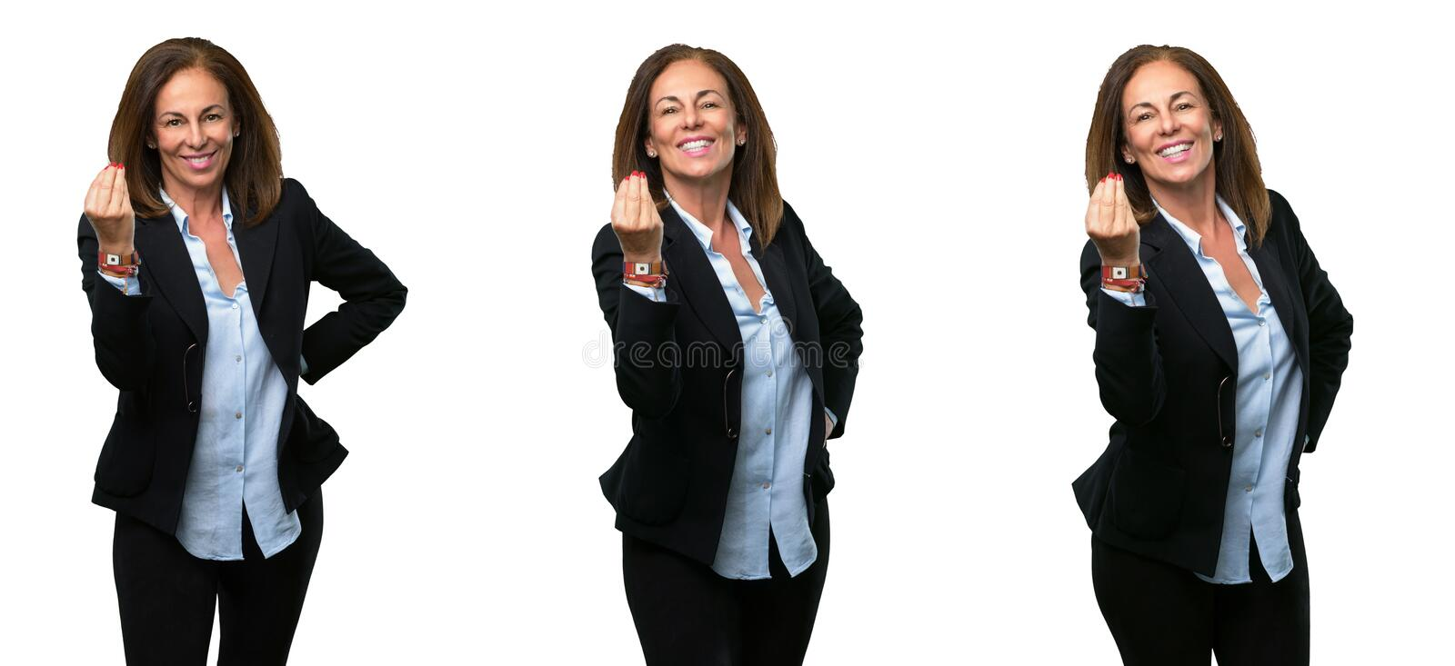 Middle age business woman with long hair stock images
