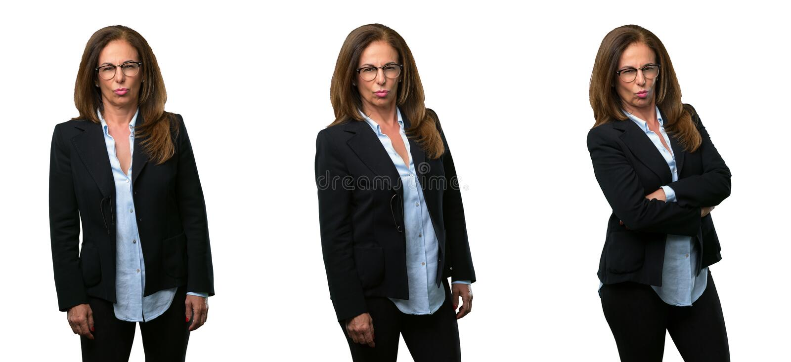 Middle age business woman with long hair stock photos