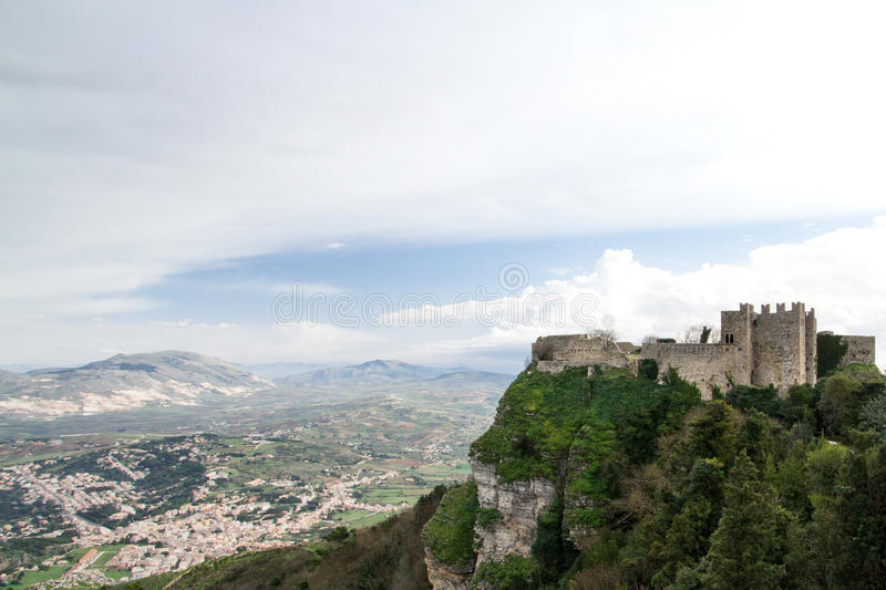 A middle age castle located on Erice Italy, Sicily, province of. Trapani royalty free stock photography
