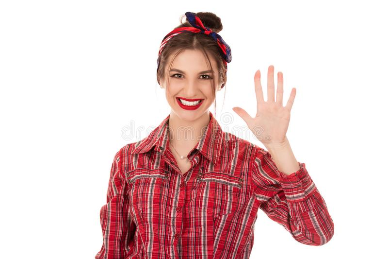 Woman showing hand up with fingers number five stock photos