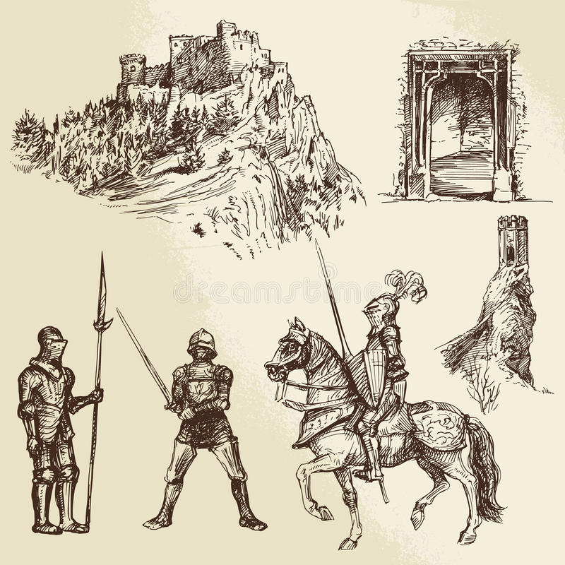 Middle age knights. Hand drawn set stock illustration