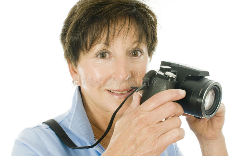 Middle Age Lady Compact Digital Camera Stock Images