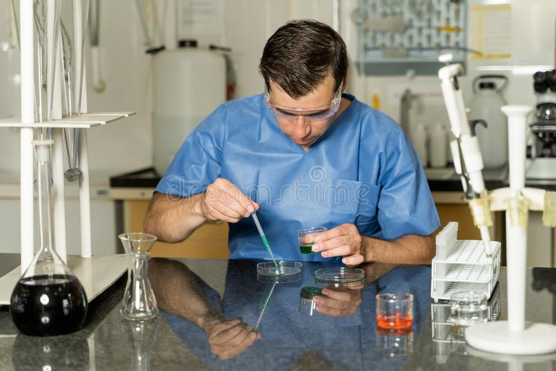 Middle age male laboratory technician sampling with pipette chemical liquid solution in laboratory royalty free stock images