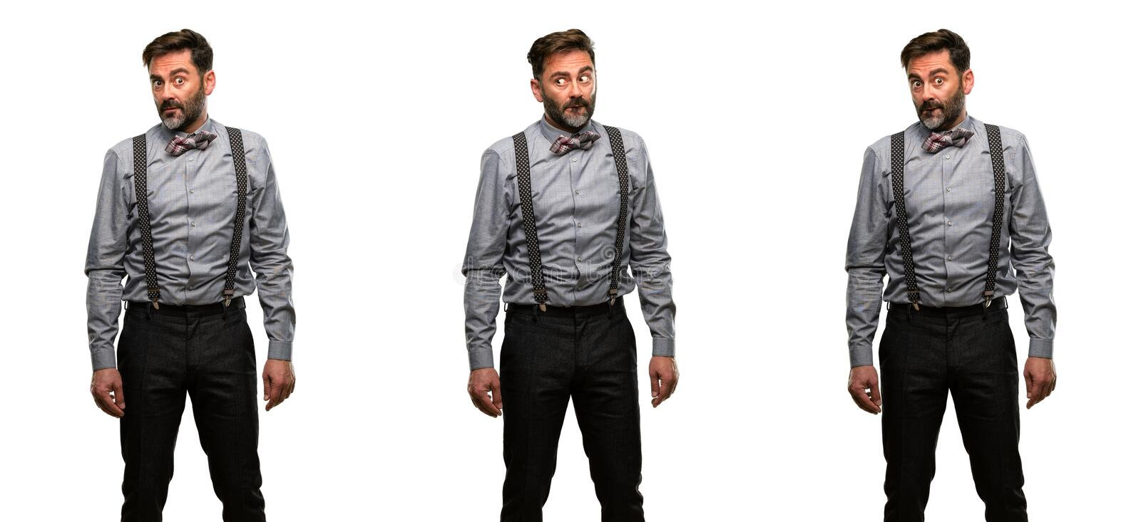 Middle age man wearing a suit stock images