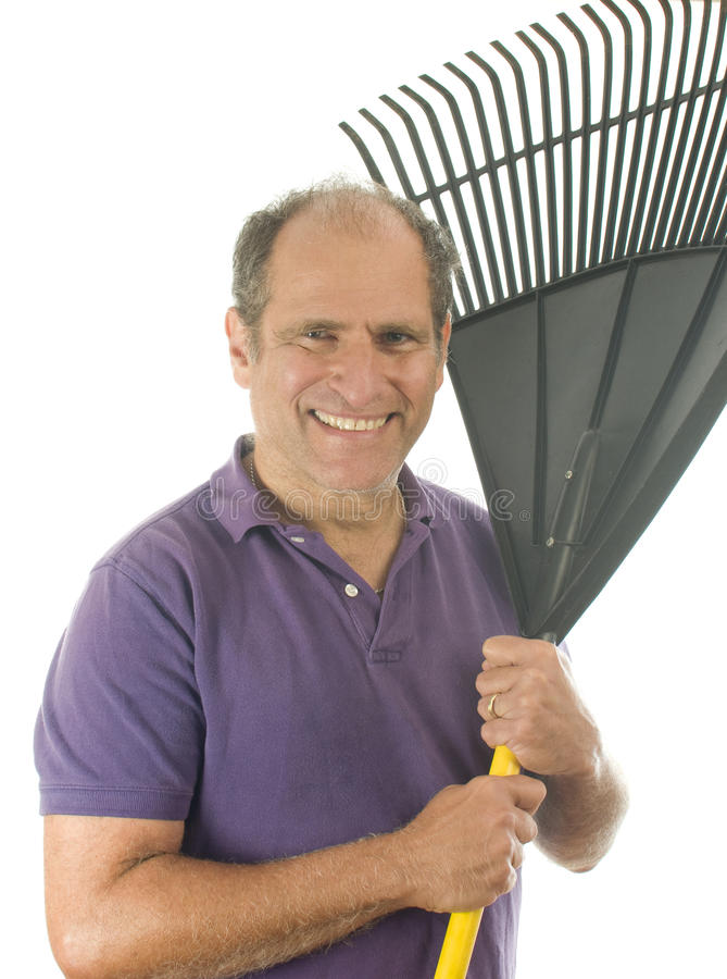 Middle Age  Man Holding Garden Leaf Rake Tool Stock Images