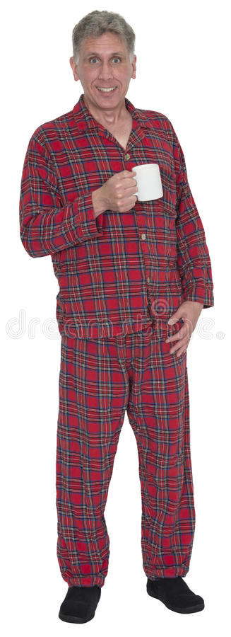 Middle Age Man, Pajamas Drinking Morning Coffee Isolated royalty free stock images