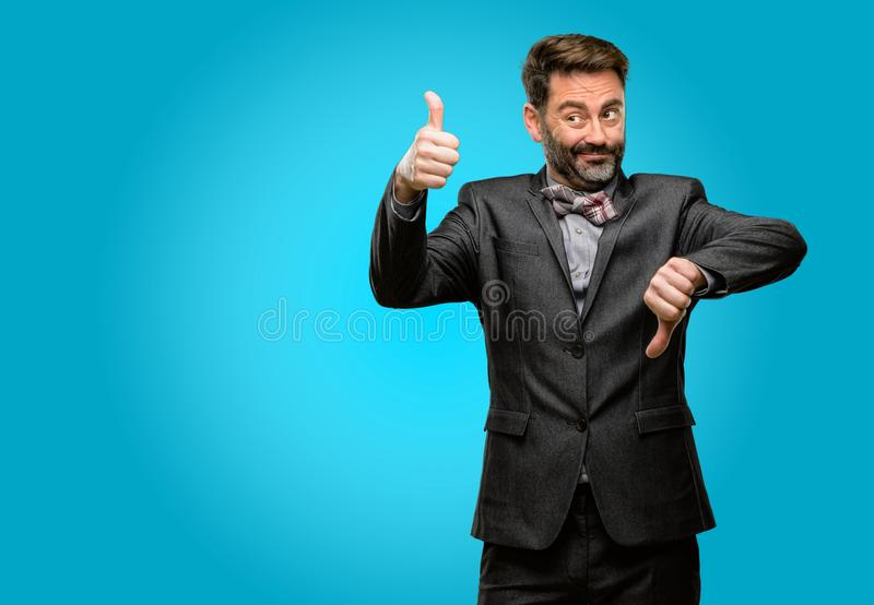 Middle age man wearing a suit royalty free stock photos