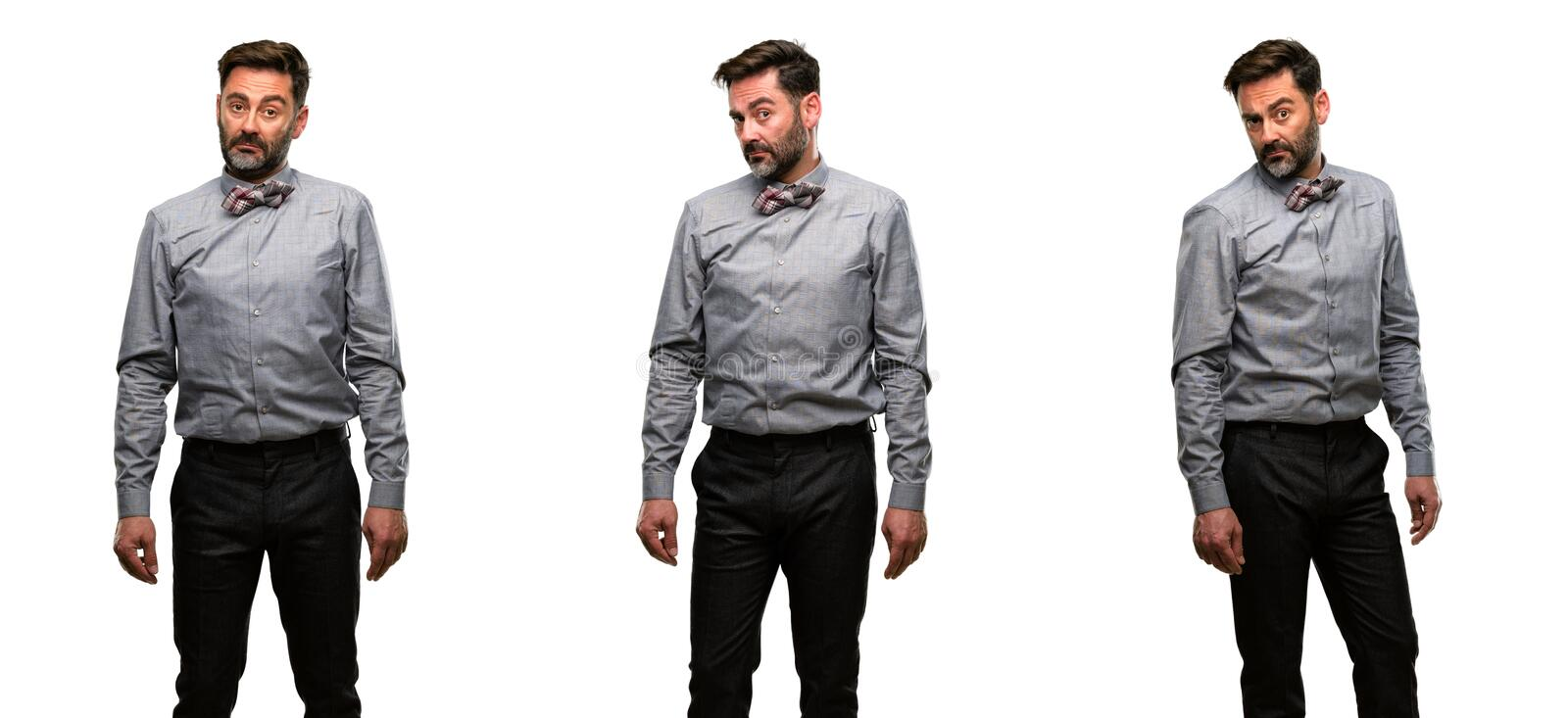 Middle age man wearing a suit royalty free stock images