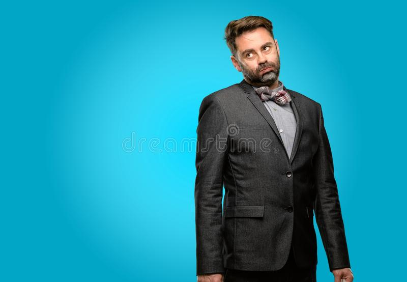 Middle age man wearing a suit stock photo