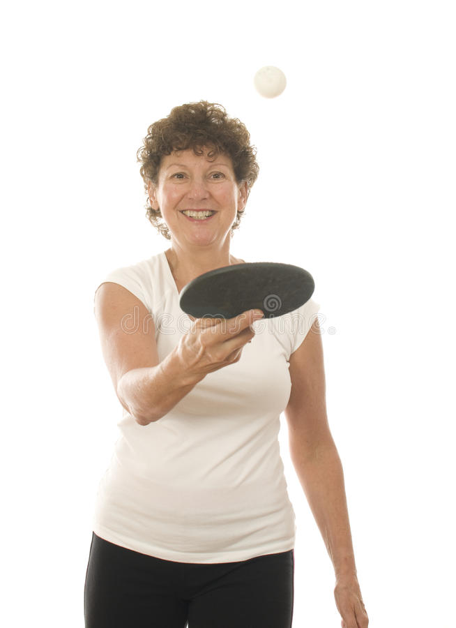 Download Middle Age Senior Woman Playing Ping Pong Stock Image - Image: 21347957