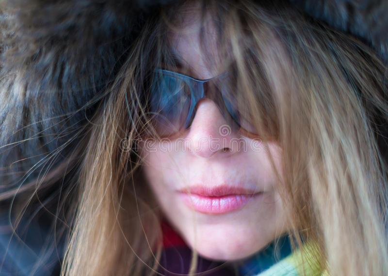 Middle Age Woman Close Up in Winter stock image
