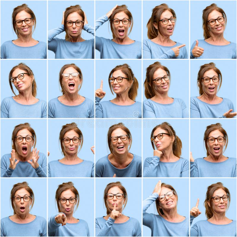 Middle age woman, different emotions collage over blue background stock photography