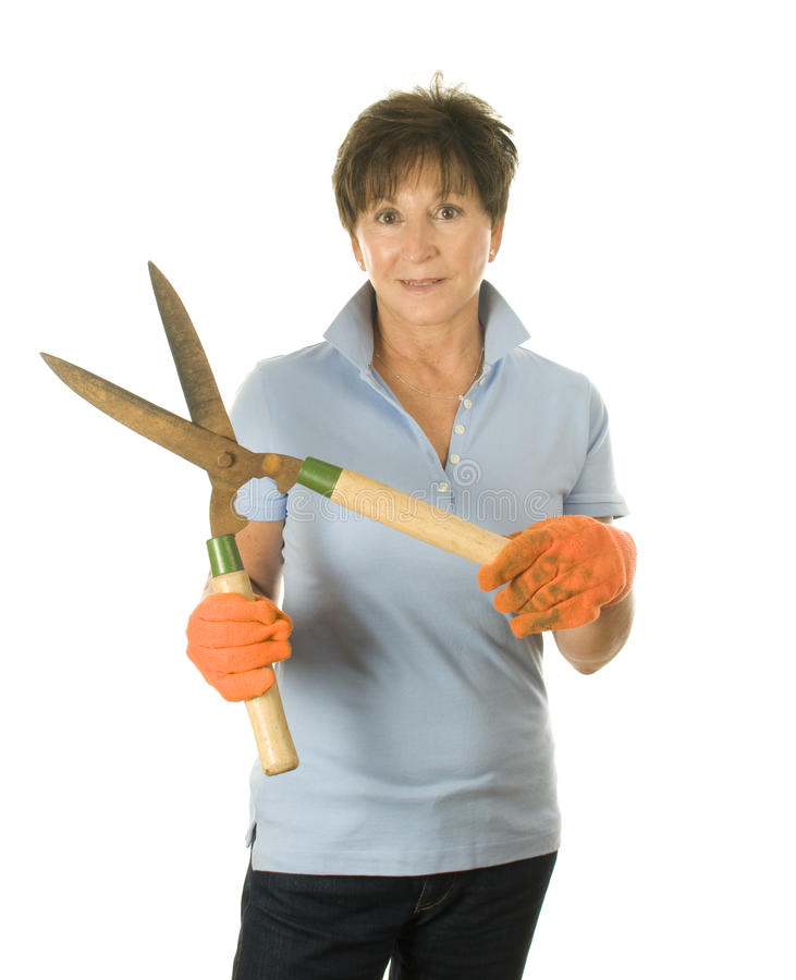Middle Age Woman Garden Tool Shears Royalty Free Stock Photos