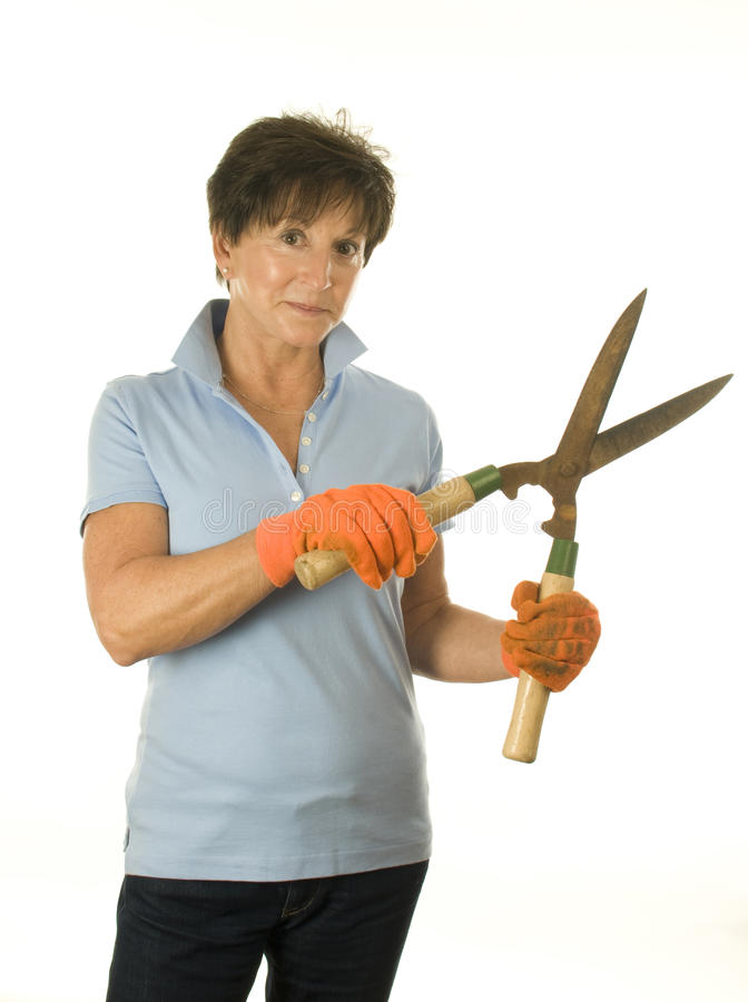 middle age woman gardener hand tool garden shears royalty free stock photo