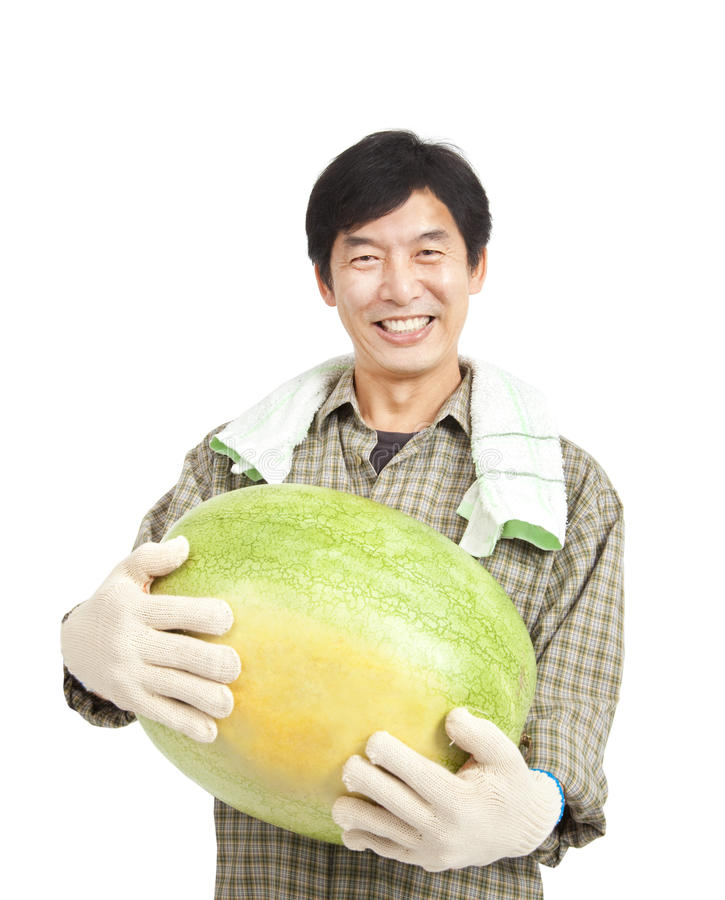 Middle aged asian farmer stock photo
