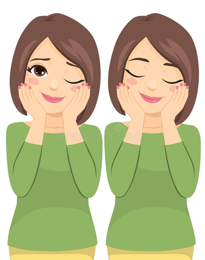 Middle Aged Beauty Woman. Happy two action winking eye and closed eyes while touching face with hands vector illustration