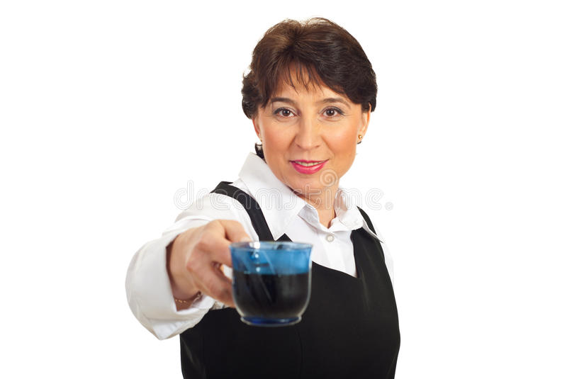 Download Middle Aged Business Woman Giving Coffee Stock Photo - Image of businessperson, happy: 18718104