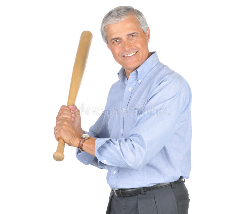 Middle aged Businessman With Baseball Bat stock photos