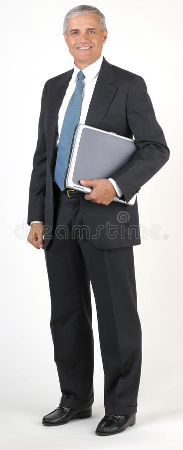 Middle Aged Businessman Full Length Hodling Laptop Royalty Free Stock Images