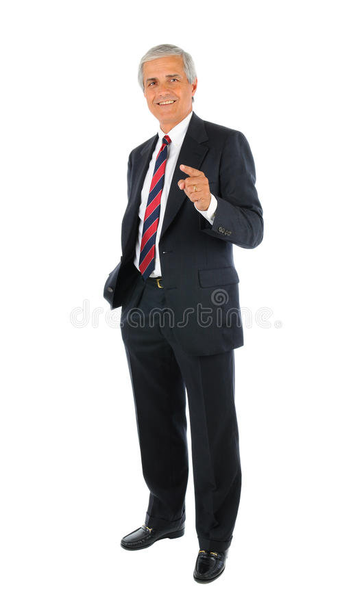 Middle aged Businessman Pointing stock image