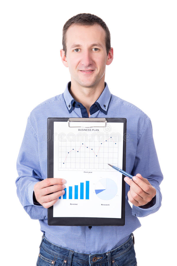 middle aged businessman presenting his business plan on clipboard isolated on white royalty free stock photos