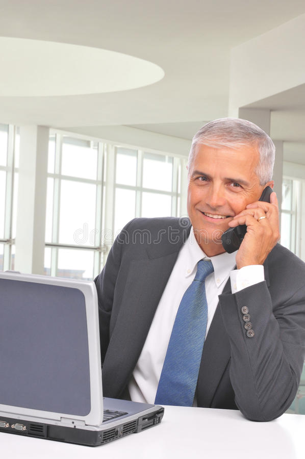 Download Middle Aged Businessman Talking On Cell Phone Stock Image - Image: 10514935