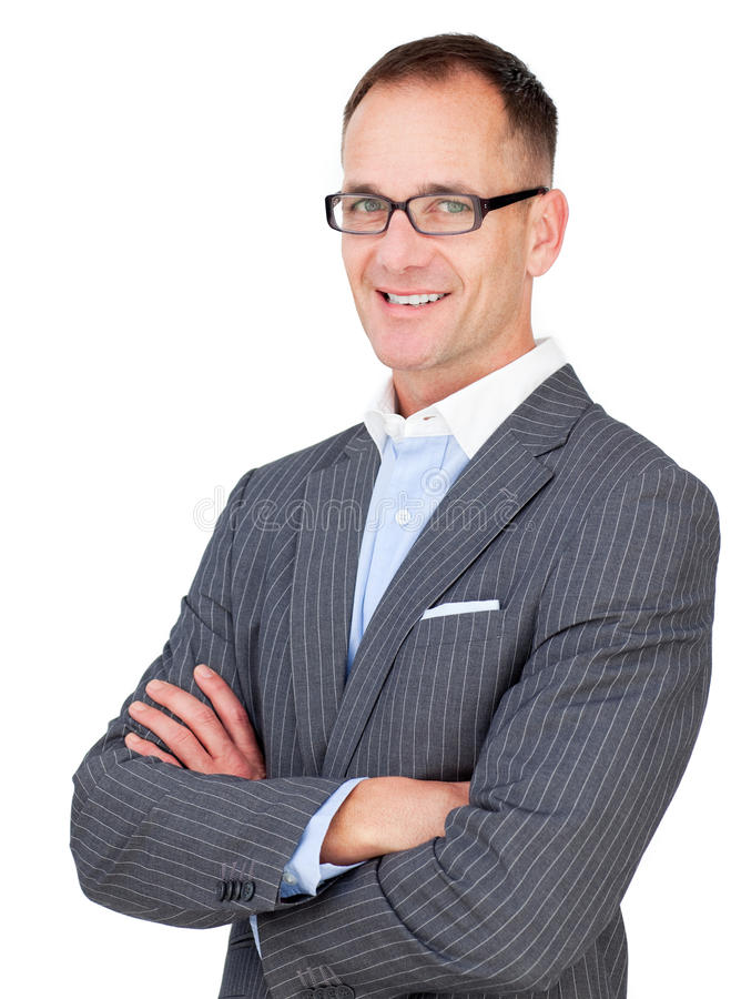 Download Middle Aged Businessman Wearing Glasses Stock Image - Image: 12618037