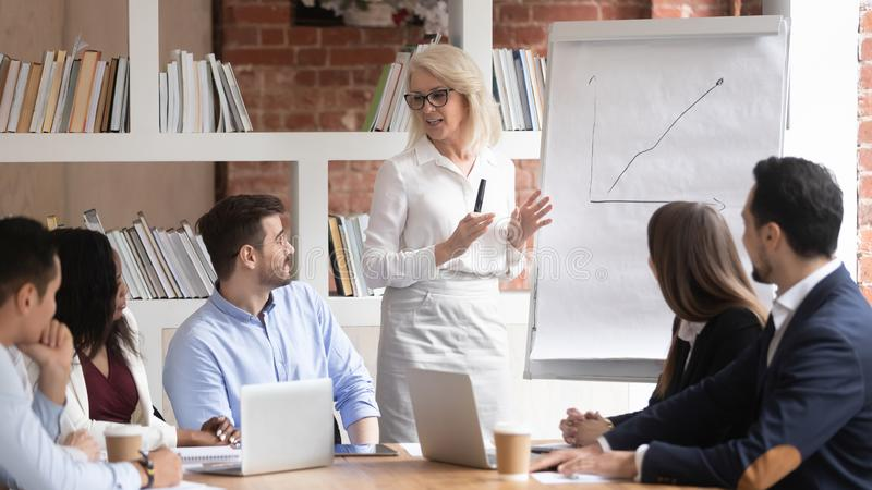 Middle-aged businesswoman making whiteboard presentation on briefing. Middle-aged businesswoman stand talking making flip chart presentation for diverse stock photo