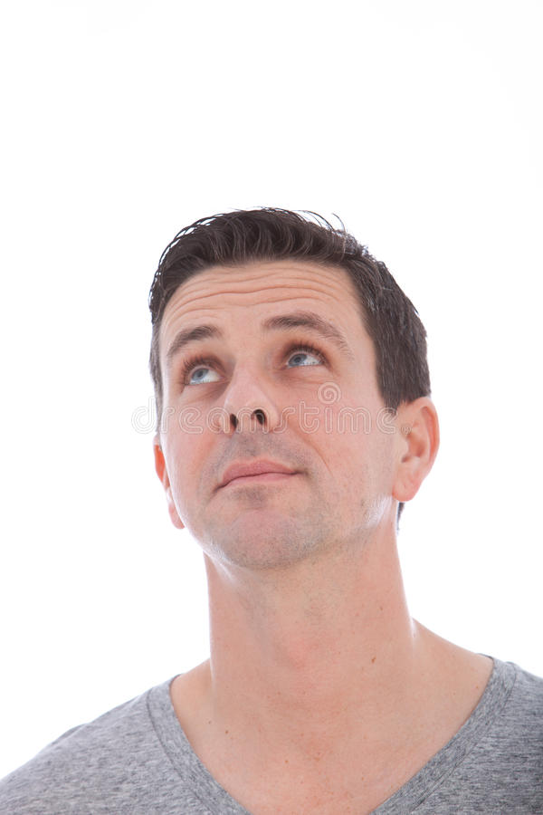 Middle-aged Caucasian blue eyed man looking up stock image