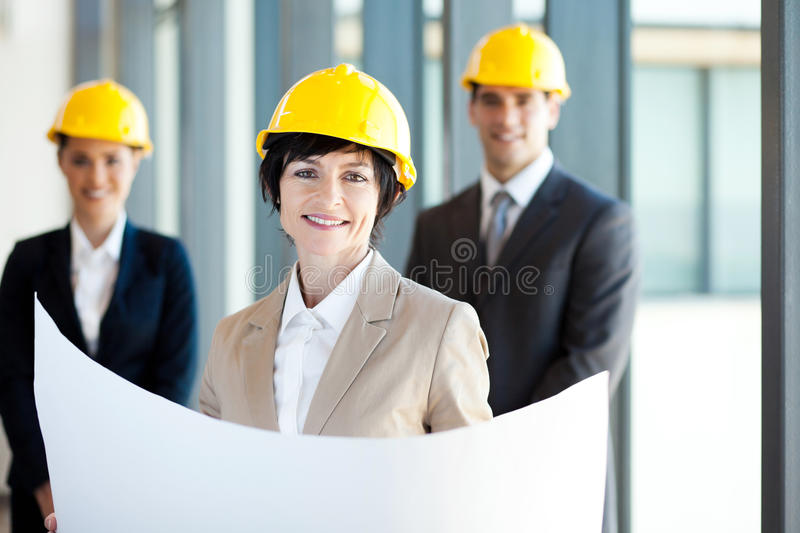 Middle aged construction businesswoman stock image