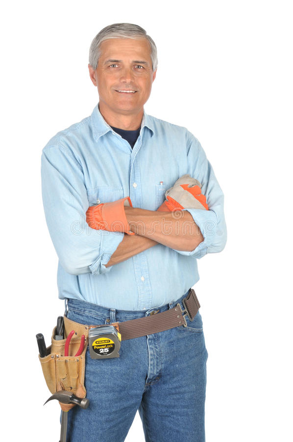 Download Middle Aged Construction Worker With Arms Folded Stock Photo - Image: 10015918