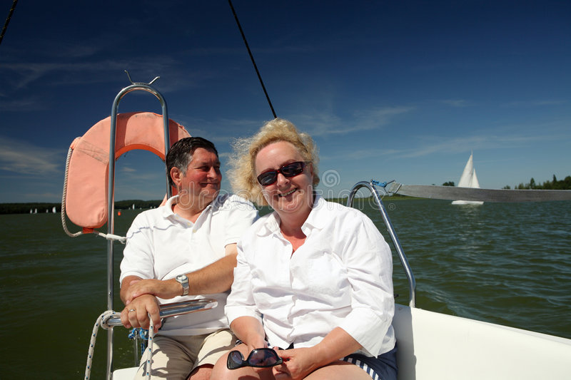 Download Middle-aged Couple On Boat Sailing Stock Photo - Image of relaxation, emotion: 8085730
