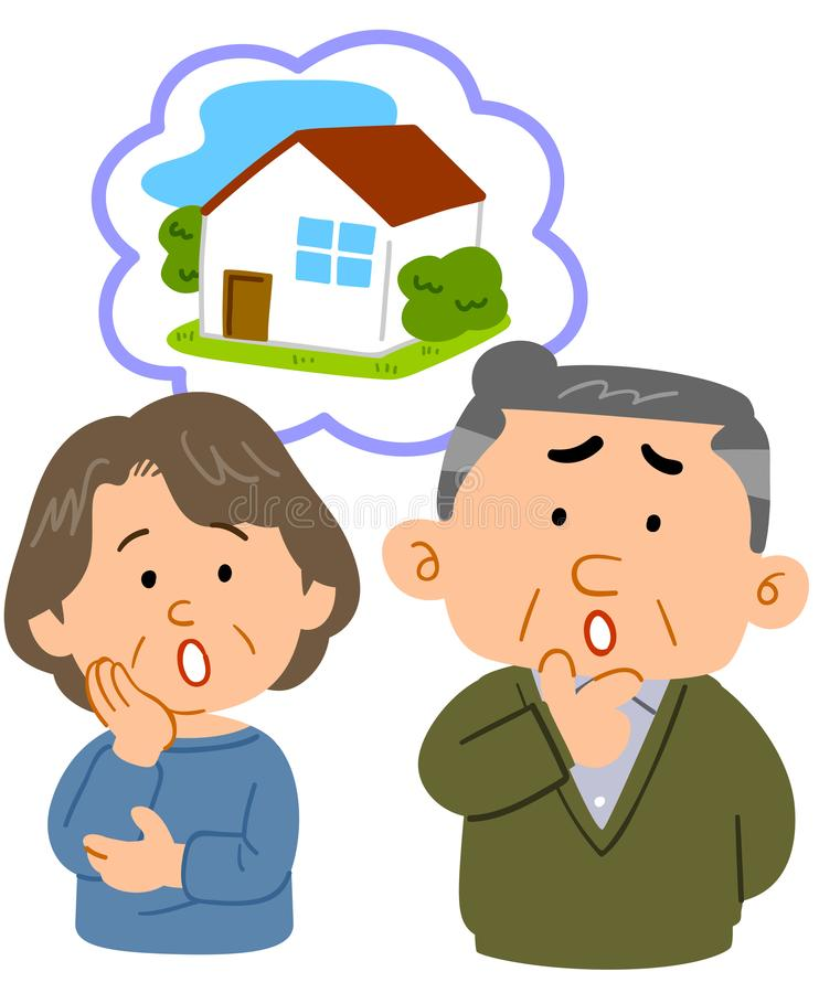 Middle-aged couple consultation worrying about housing vector illustration