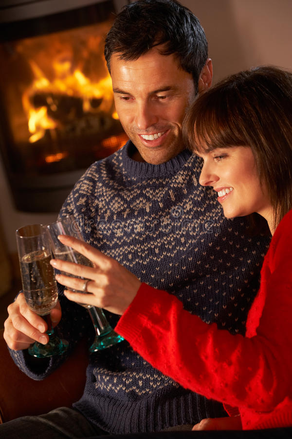 Download Middle Aged Couple  With Glass Of Champagne Stock Photo - Image: 24424284