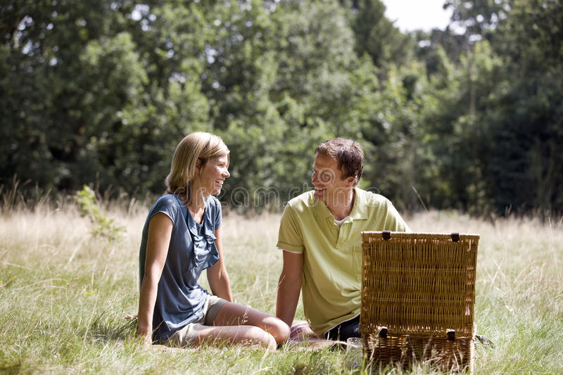 A middle aged couple having a picnic stock photos