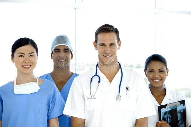 Multi-ethnic medical Team. Portrait of a happy multi-ethnic medical Team stock photography