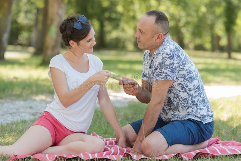 Middle aged couple together. A middle aged couple together royalty free stock photography