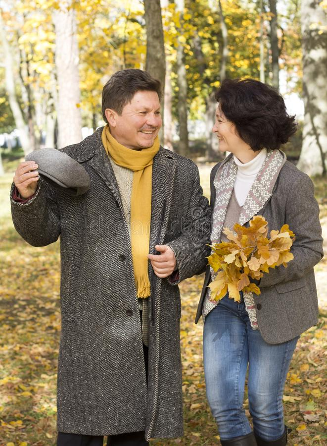 Middle-aged couple walks in the autumn forest. royalty free stock photography