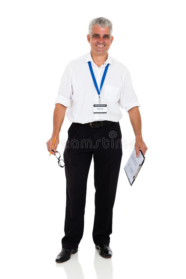 Middle aged driving instructor royalty free stock photo