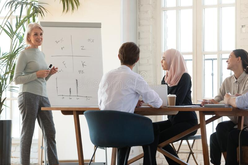 Middle-aged female coach make presentation for diverse colleagues stock image