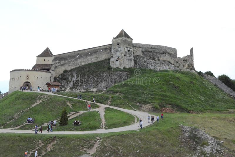 Middle aged fortress in Rushnov, Romania royalty free stock photo