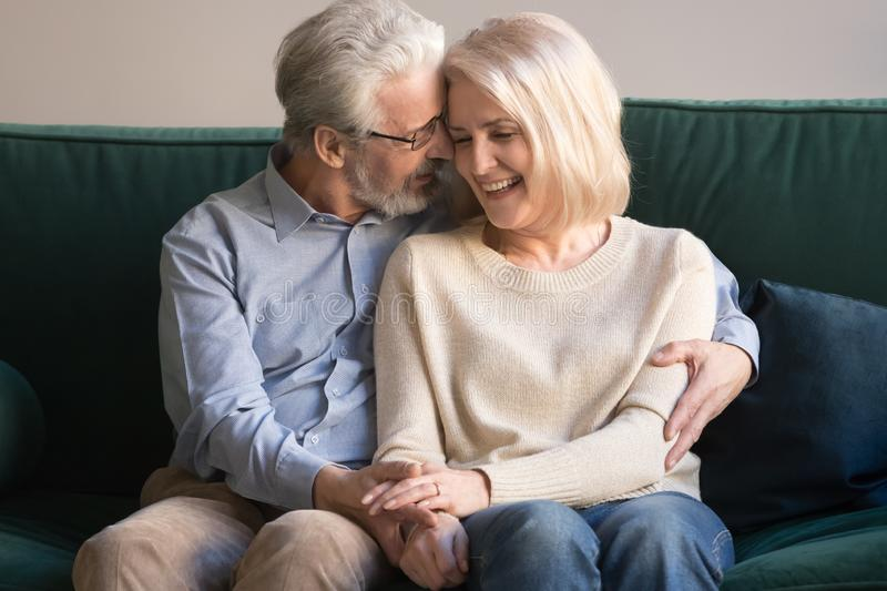 Elder senior smiling happy family couple hugging at home. royalty free stock photography