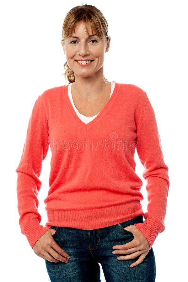 Middle aged lady in stylish trendy wear stock photography