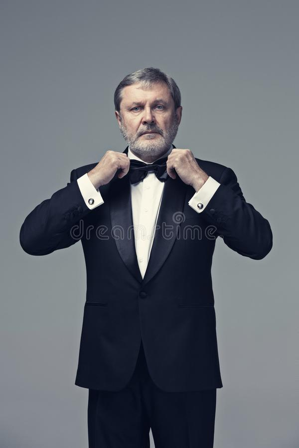 Middle aged male adult wearing a suit on gray stock photography