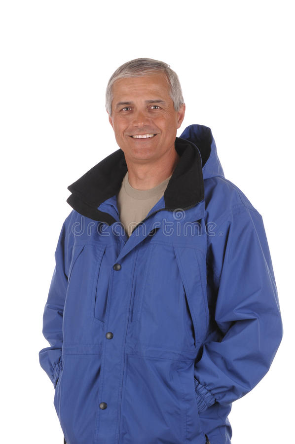 Middle aged man in anorak royalty free stock photography