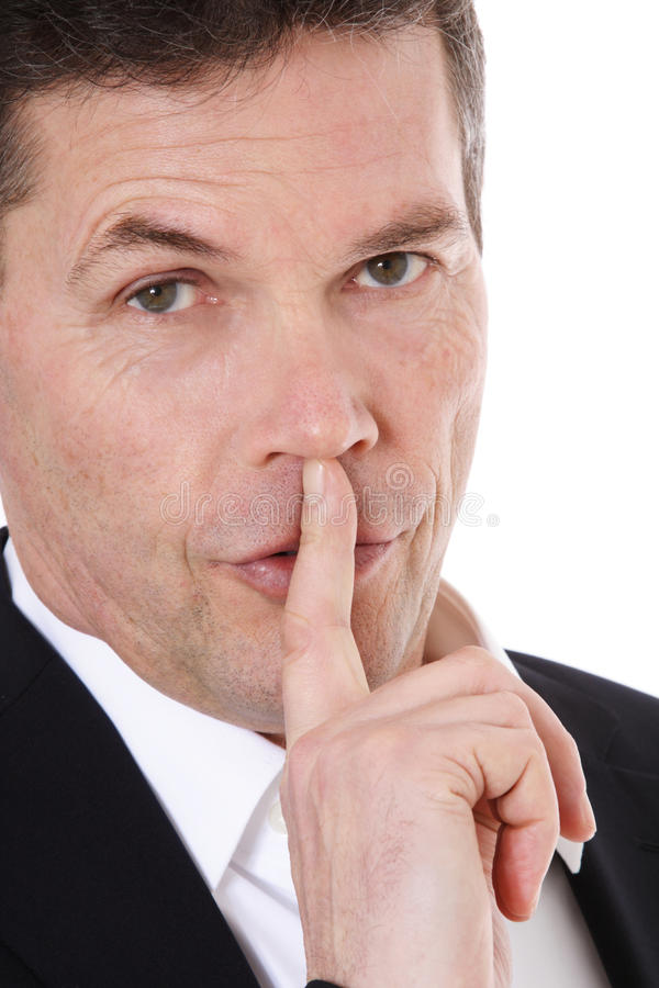 Download Middle-aged Man Asks For Silence Stock Image - Image: 19923289